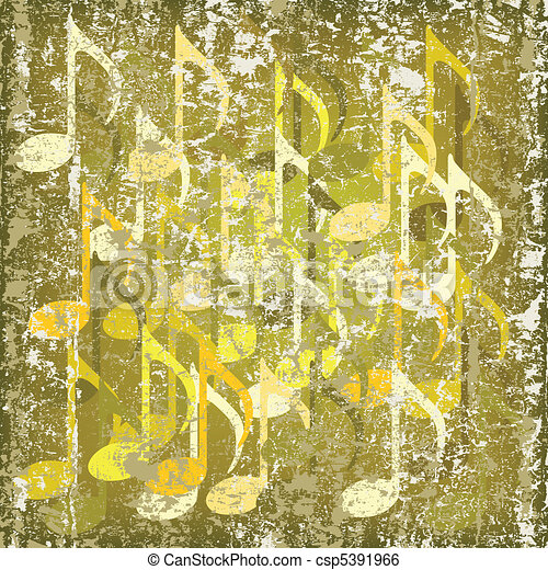 abstract cracked background musical note - csp5391966
