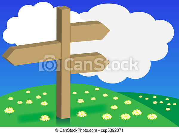 Spring Background - Signpost on Meadow - csp5392071