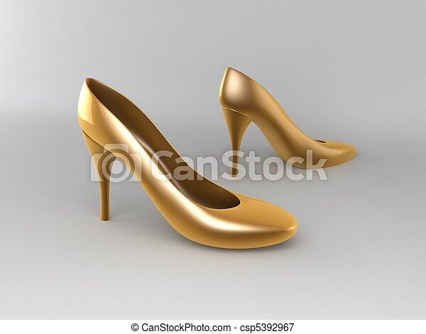 dorado, zapatos, tacones altos - csp5392967