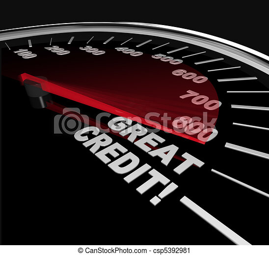 Great Credit Scores - Numbers on Speedometer - csp5392981