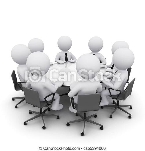 3D man at business meeting - csp5394066