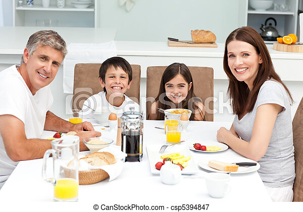 Family having breakfast in the kitc - csp5394847