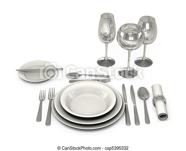 Classic Dinnerware in the restaurant - csp5395332