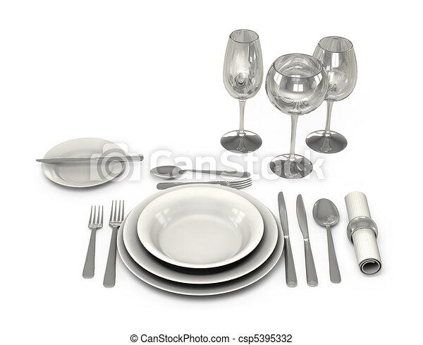 Classic Dinnerware in the restaurant - csp5395332