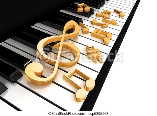 treble clef is on the piano - csp5395563