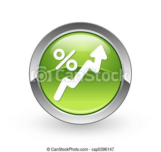 statistics - Green sphere button - csp5396147