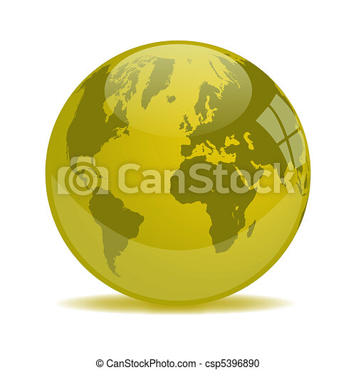 Yellow Earth Glass Orb - csp5396890