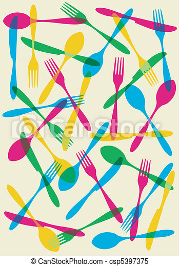 Cutlery transparency pattern background - csp5397375
