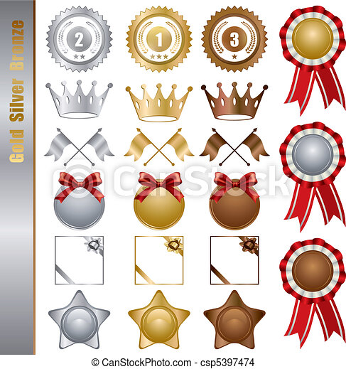 Gold Silver bronze Awards Set - csp5397474