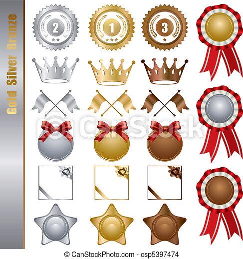 Gold Silver bronze Awards Set - csp5397474