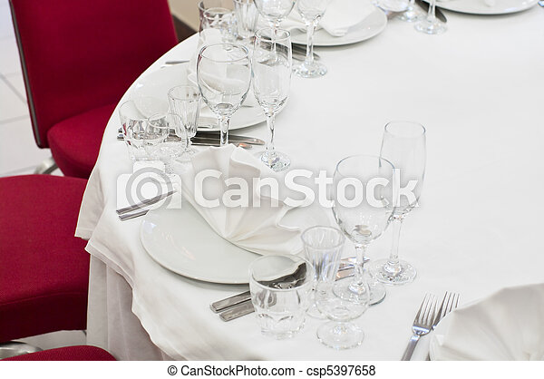 Elegant banquet and dinner tables prepared for a holiday or a party. - csp5397658
