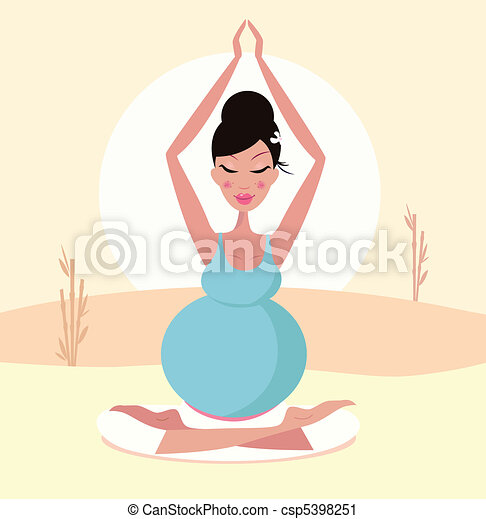 Beautiful pregnant yoga mom - csp5398251
