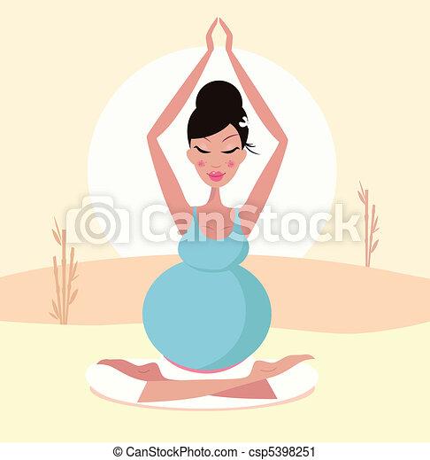 Beautiful pregnant yoga mom - csp5398251