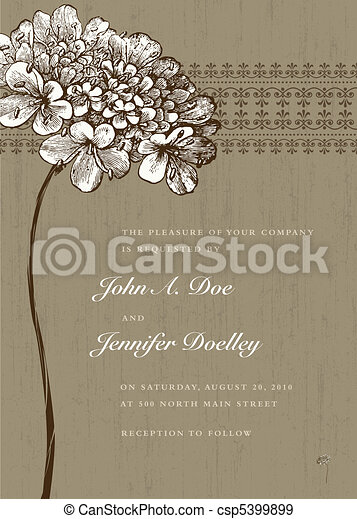 Vector Brown Flower and Ornate Background - csp5399899