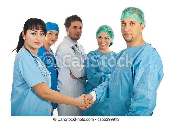 Physician woman and surgeon man handshake - csp5399913