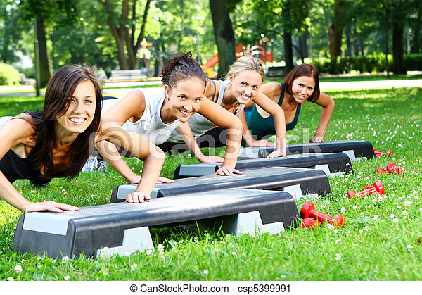Young and attractive womans doing fitness exercises - csp5399991