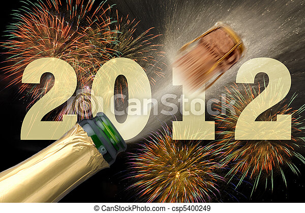 happy new year party 2012 with popping champagne