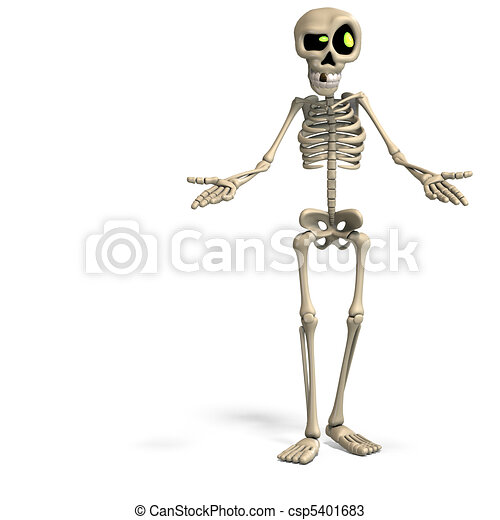 very funny cartoon skeleton. 3D rendering with and shadow over white ...