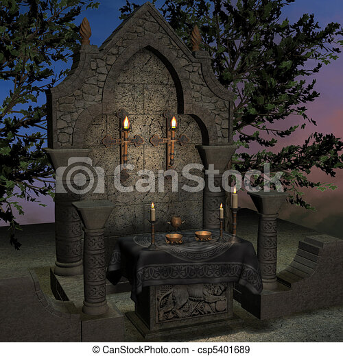 archaic altar or sanctum in a fantasy setting. 3D rendering of a fantasy theme. ideal for background usage. - csp5401689