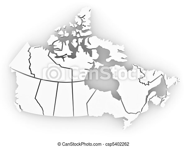 Three-dimensional map of Canada. 3d - csp5402262