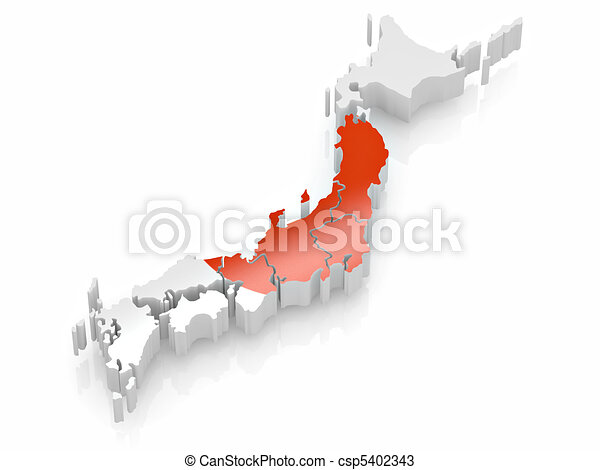 Map of Japan in Japanese flag colors - csp5402343