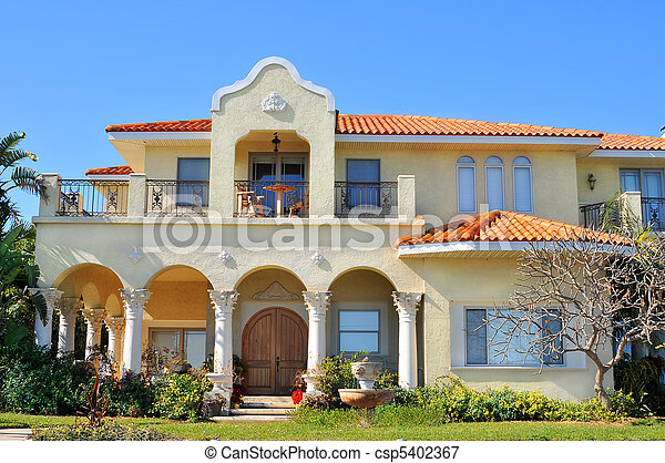 Spanish style waterfront home - csp5402367