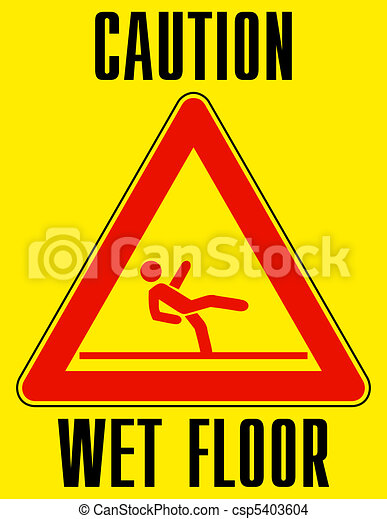 Bright yellow wet floor sign. EPS 8 - csp5403604