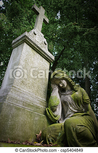 Old grave with woman statue - csp5404849