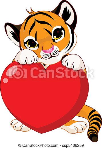Cute  tiger cub holding heart - csp5406259