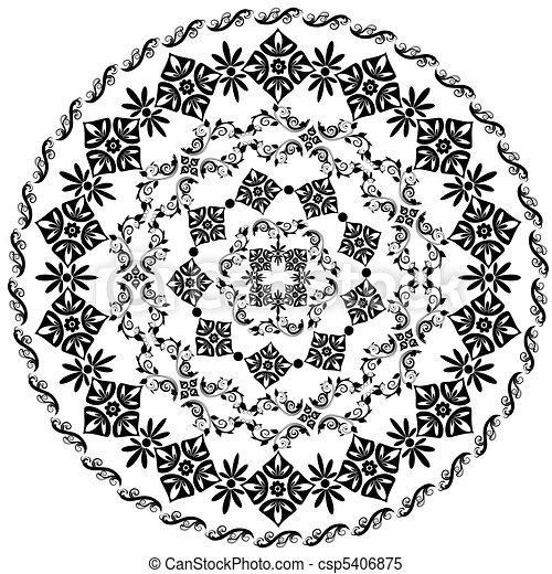 abstract circular pattern of arabesques - csp5406875