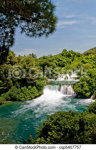 Landscape of a waterfall in Krka national park in Croatia - csp5407757