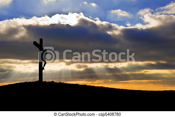 Jesus Christ Crucifixion on Good Friday Silhouette - csp5408780