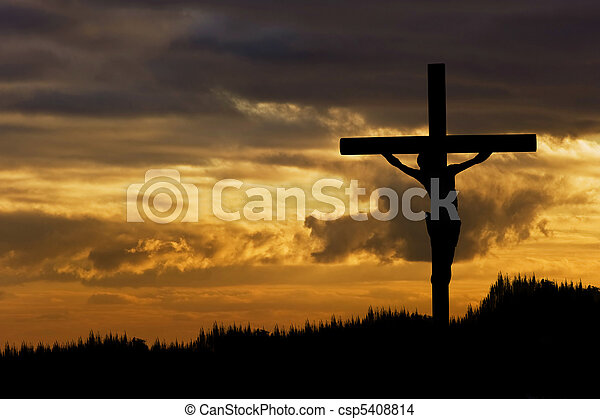 Jesus Christ Crucifixion on Good Friday Silhouette - csp5408814