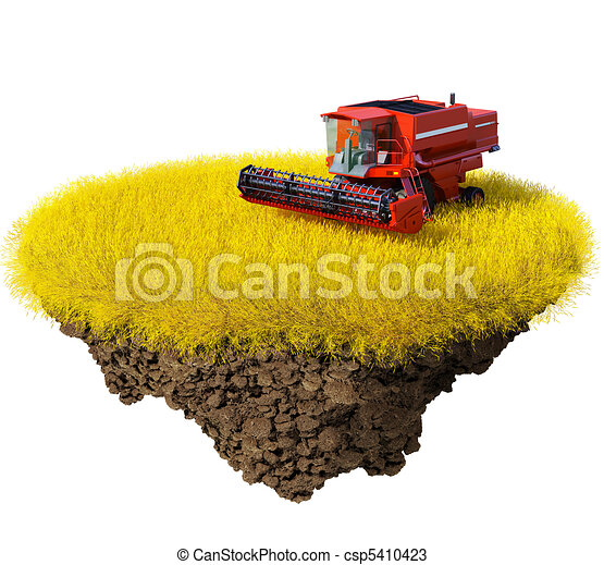 Agriculture: harvesting grain field - csp5410423
