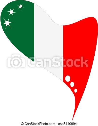italy in heart. Icon italy flag - csp5410994