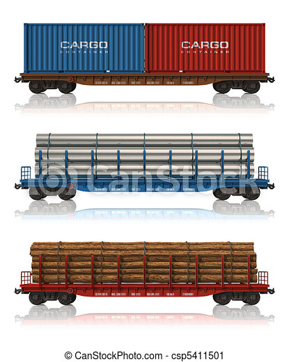 Set of freight railroad cars - csp5411501