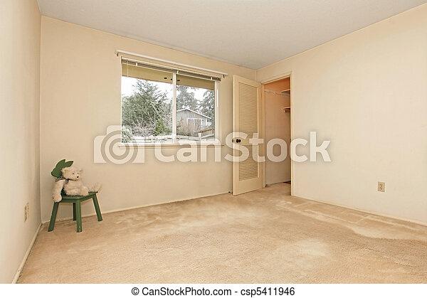 Stock Image of Empty room with one door and window - Empty ...