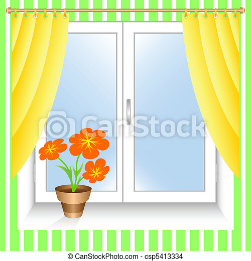 Flower at a window. - csp5413334