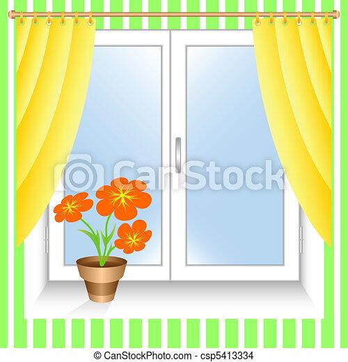 Flower at a window. - csp5413334