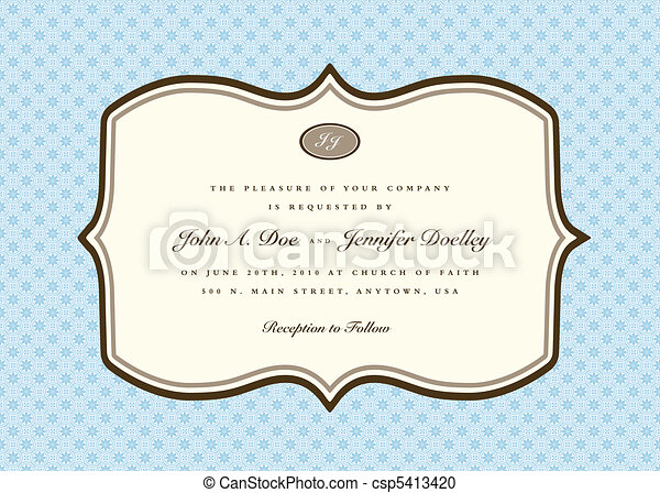 Vector Blue Rounded Invitation Frame - csp5413420