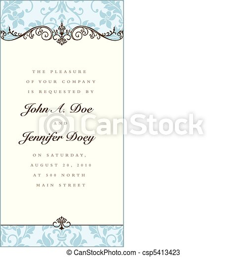 Vector Floral Blue Frame and Ornaments - csp5413423