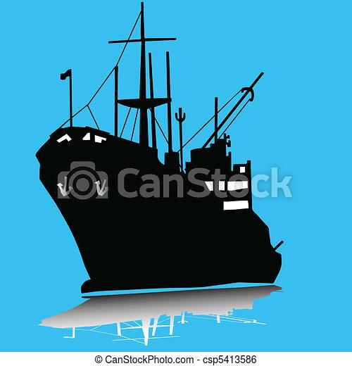 Cargo ship silhouette - csp5413586