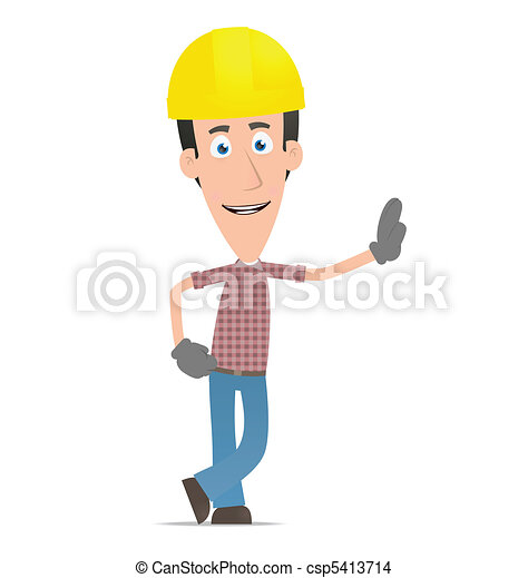 Builder stands next to a blank place - csp5413714