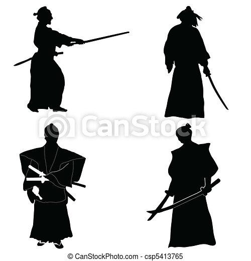 Four Samurai silhouettes - csp5413765