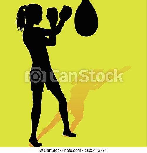 Girl boxer silhouette - csp5413771