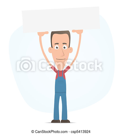 Mechanic holds over a banner - csp5413924