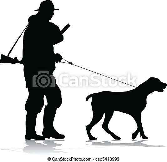 Hunter and dog silhouette - csp5413993