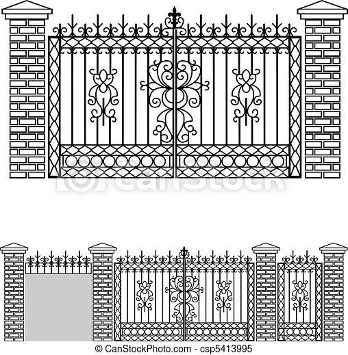 Iron gate doors and fences - csp5413995