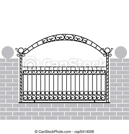 Iron fence with bow - csp5414006