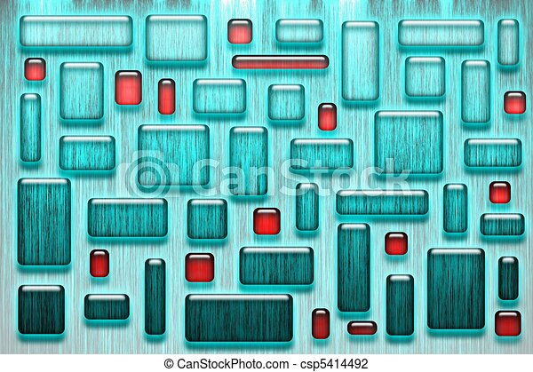 Cyan and red glassy tiles - csp5414492